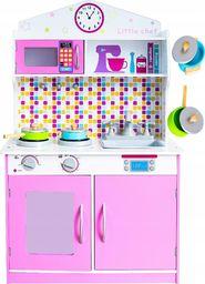 VimToys Duża różowa drewniana kuchnia dla dzieci + akcesoria kuchenne