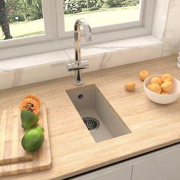 vidaXL Zlew kuchenny z otworem przelewowym, beżowy, granitowy