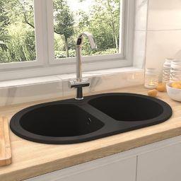 vidaXL Dwukomorowy, owalny zlewozmywak kuchenny, czarny, granit