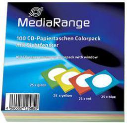 MediaRange Kolorowe koperty na płyty, 100sztuk, 4 kolory (BOX67)