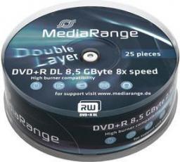 MediaRange DVD+DL,  8x,  8,5GB,  25 sztuk (MR469)