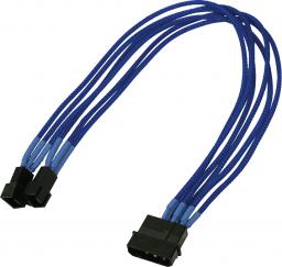 Nanoxia Adapter 4Pin Molex - 2x3Pin 30cm, niebieski (900200015)