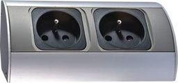Orno Gniazdo meblowe podwójne z/u 16A IP20 aluminium/ tworzywo OR-AE-1303
