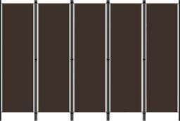 vidaXL Parawan 5-panelowy, brązowy, 250 x 180 cm