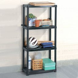 vidaXL Regał 4-poziomowy, czarny, 61 x 30,5 x 130 cm, plastik