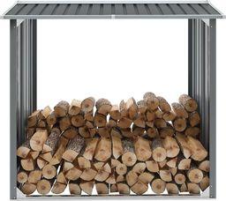 vidaXL Wiata na drewno, stal galwanizowana, 172 x 91 x 154 cm, szara (44858)