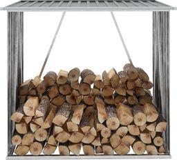 vidaXL Wiata na drewno, stal galwanizowana, 163 x 83 x 154 cm, szara (44959)
