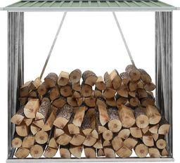 vidaXL Wiata na drewno, stal galwanizowana, 163 x 83 x 154 cm, zielona (47089)