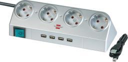 Listwa zasilająca Brennenstuhl Desktop-Power zwykła 4 gniazd 1.8m 4xUSB srebrny (1153540134)