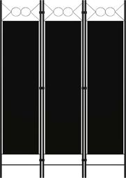 vidaXL Parawan 3-panelowy, czarny, 120 x 180 cm