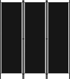 vidaXL Parawan 3-panelowy, czarny, 150 x 180 cm