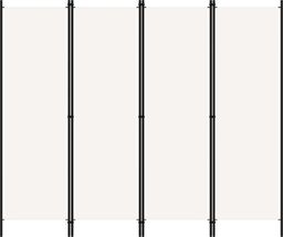 vidaXL Parawan 4-panelowy, biały, 200 x 180 cm