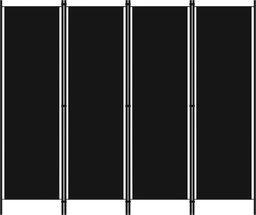 vidaXL Parawan 4-panelowy, czarny, 200 x 180 cm