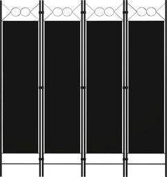 vidaXL Parawan 4-panelowy, czarny, 160 x 180 cm