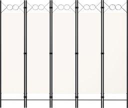 vidaXL Parawan 5-panelowy, biały, 200 x 180 cm