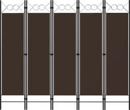 vidaXL Parawan 5-panelowy, brązowy, 200 x 180 cm