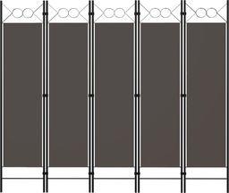 vidaXL Parawan 5-panelowy, antracytowy, 200 x 180 cm