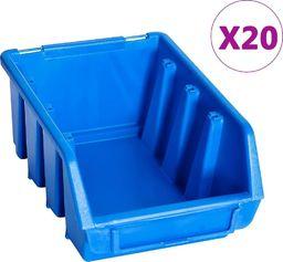 vidaXL Pojemniki sztaplowane, 20 szt., niebieskie, plastikowe