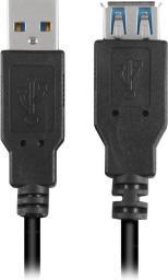 Kabel USB Sharkoon przedłużacz,  USB 3.0, 2m, czarny (4044951015689)