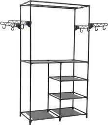 vidaXL Stojak na ubrania, stal i włóknina, 87 x 44 x 158 cm, czarny