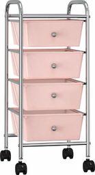Wózek narzędziowy vidaXL Wózek z 4 szufladami, różowy, plastikowy