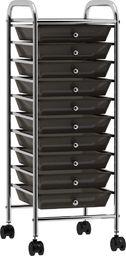 Wózek narzędziowy vidaXL Wózek z 10 szufladami, czarny, plastikowy
