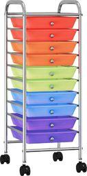 Wózek narzędziowy vidaXL Wózek z 10 szufladami, kolorowy, plastikowy