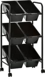 Wózek narzędziowy vidaXL Regał na kółkach z 6 koszami na zabawki, czarny, plastikowy