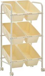 Wózek narzędziowy vidaXL Regał na kółkach z 6 koszami na zabawki, biały, plastikowy