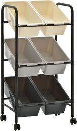 Wózek narzędziowy vidaXL Regał na kółkach z 6 koszami na zabawki, ombre, plastikowy