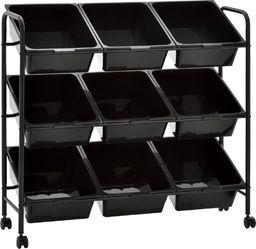 Wózek narzędziowy vidaXL Regał na kółkach z 9 koszami na zabawki, czarny, plastikowy