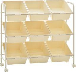 Wózek narzędziowy vidaXL Regał na kółkach z 9 szufladami na zabawki, biały, plastikowy