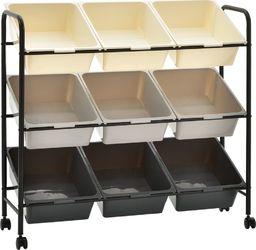 Wózek narzędziowy vidaXL Regał na kółkach z 9 koszami na zabawki, ombre, plastikowy
