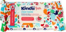 Kindii Kindii Fun Chusteczki odświeżające dla dzieci z płynem antybakteryjnym 1op.-15szt