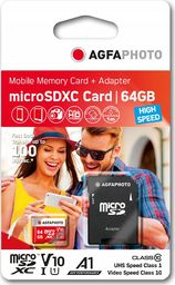 Karta AgfaPhoto Agfa MicroSD MicroSDXC 64 GB Class 10 UHS-I/U1 V10 (SB6032)