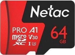 Karta Netac P500 Extreme Pro MicroSDXC 64 GB Class 10 A1 V30 (NT02P500PRO-064G-S)