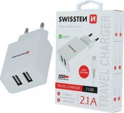 Ładowarka Swissten Ładowarka sieciowa Swissten Smartic 2xUSB 2.1A + Kabel iPhone Lightning 1.2m biała