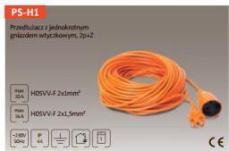 Kabel zasilający Plastrol 2p,10A, 250V, 2x1mm2, 15m, pomarańczowy  (PS-H1/1,0/15,0 POM)