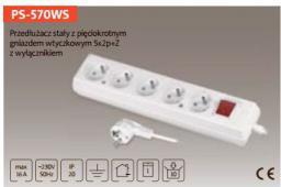 Listwa zasilająca Plastrol 5gn 5 gniazd 3 m biała (PS-570WS/3)