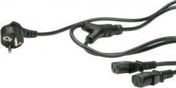 Kabel zasilający Roline 2x IEC320 C-13, 1xCEE7/7, 2m, czarny (19.08.1022)