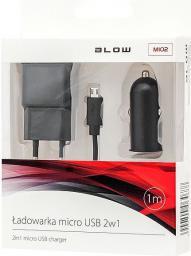 Zestaw ładowarek Blow I Sieciowa, 2,1A, Kabel microUSB, Czarny (75-863#)