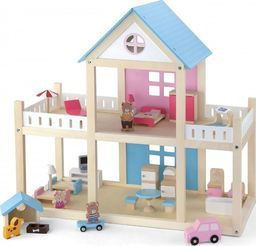 Viga Toys VIGA Drewniany domek dla lalek 4 figurki mebelki