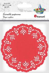 Titanum Serwetki papierowe okrągłe 11,5cm czerwone 35szt.