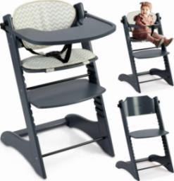 Ricokids Krzesełko do karmienia drewniane Loni - szare