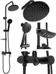 Zestaw prysznicowy REA Rea z deszczownicą z baterią czarny (REA-P7005)