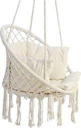 Saska Garden Hamak ażurowy fotel wiszący 80x60cm luxe z poduszką ecru