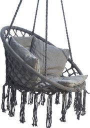Saska Garden Hamak ażurowy fotel wiszący 80x60cm luxe z poduszką szary (1026954)