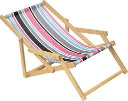 Saska Garden Leżak plażowy drewniany z podłokietnikiem classic w pasy
