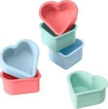 Lurch 6 Lurch Flexiform foremek na babeczki, serca, 7,5 x 7 x 3,5 cm, miks pastelowych kolorów