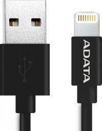 Kabel USB ADATA Lightning, certyfikat MFI, 1m, Czarny (AMFIPL-100CM-CBK)